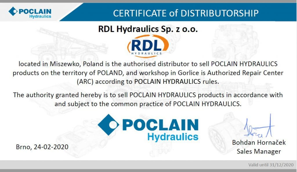 certyfikat poclain 1024x596 - We have become an authorized service point of Poclain Hydraulics in Poland.