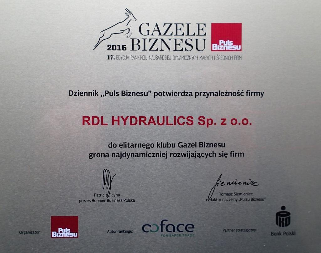 rdl gazela biznesu 2016 tabliczka - Certyfikaty i wyróżnienia