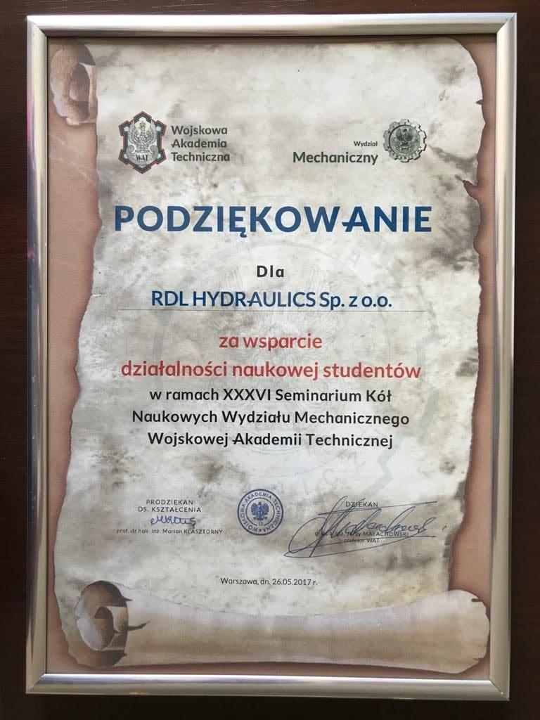 rdl wat e1522317767510 - Certyfikaty i wyróżnienia