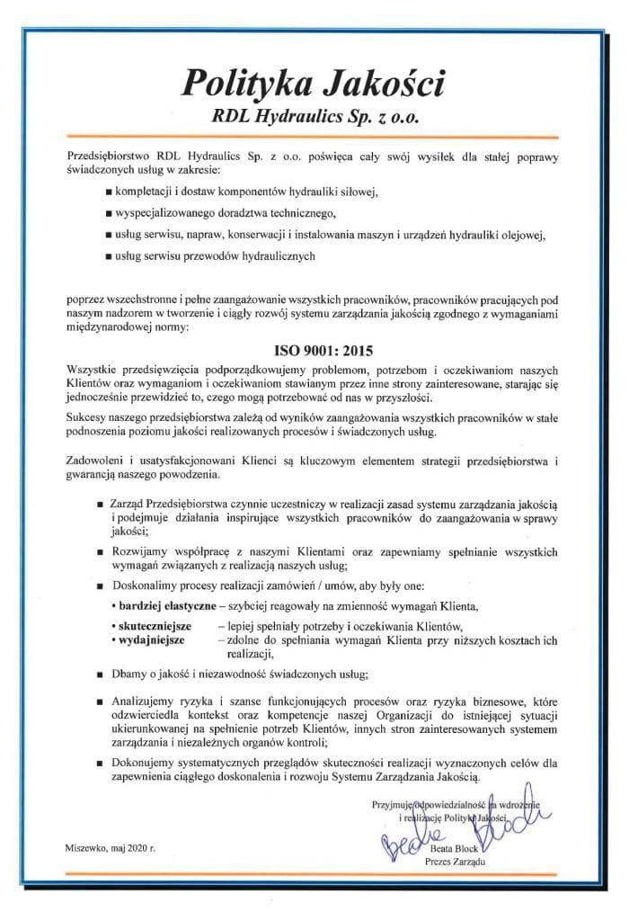 rdlpolityka jakosci 700x1024 - Certyfikaty i wyróżnienia