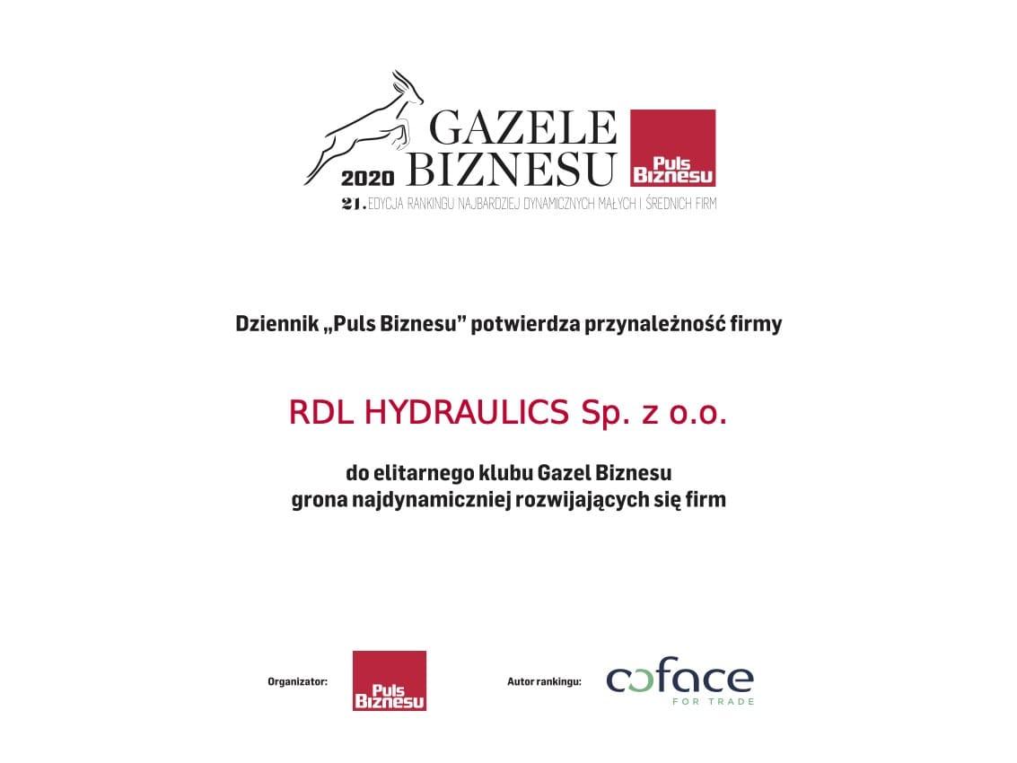gazele 2020 85680420 - RDL Hydraulics Gazelą Biznesu 2020